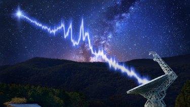 The Arecibo telescope, in Puerto Rico, shown in this artist's impression receiving the fast radio burst.