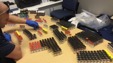 Police seized nine litres of liquid steroids with an estimated street value of $180,000 in Samford Valley and Toowoomba.