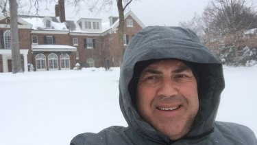 Joe Hockey outside his new home in Washington, as Australia's ambassador to the US.
