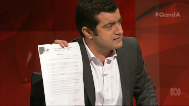 """I have it here"": Sam Dastyari reminds Abetz of his old anti-LGBTI comments."