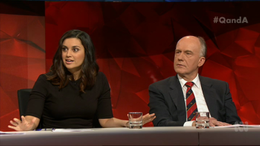 Panellists Jamila Rizvi and Eric Abetz.