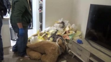 The remnants of the teddy bear after the police search.