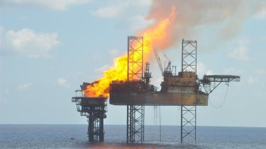 A handout photograph shows a well head platform on fire in the Montara oil field on  November 2, 2009.