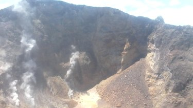 The crater of Mount Agung on Friday.