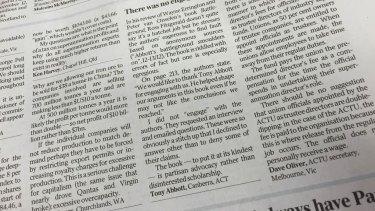 Tony Abbott's letter to the editor in <i>The Australian</i> newspaper.