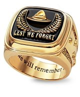 Anzac merchandise: Lest We Forget 24K Gold-Plated Men's Ring.