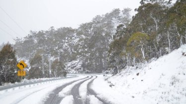 The Bureau of Meteorology said there were reports of up to 40 centimetres of snow in the central highlands.
