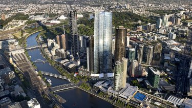 Crown's proposed 90-storey tower (centre).