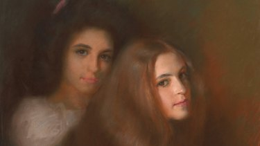 Carmen and Elizabeth Pinschof, c. 1900, drawing in pastel on paper.