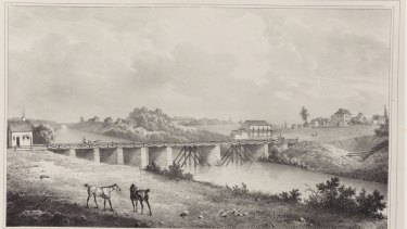 Lithograph of the Gaol Bridge in Parramatta in 1826. The horses are standing behind where the Riverside Theatre now is.The bridge was built on stone piers with timber railings.