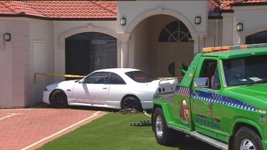 The Nissan Skyline struck the home in Darch.