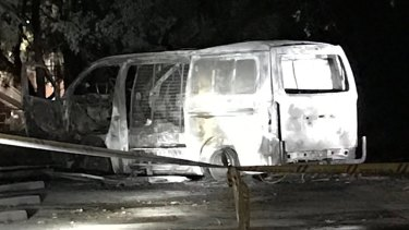 The van that drove into the Australian Christian Lobby's headquarters and exploded in Canberra.