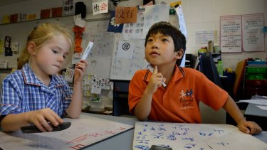 Grade 1 students at Richmond West Primary School, Charlotte and Yooseong, learn Mandarin.