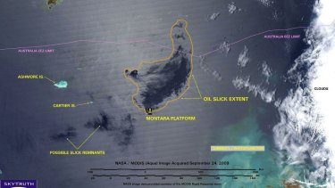 A NASA image from September 2009 shows the extent of the oil slick created by the 2009 Montara oil spill in the Timor Sea.