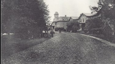 The Willard Asylum where patients are seen building a new road.
