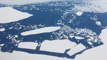 Melting moments: sheets of ice adrift along the Antarctic coast.