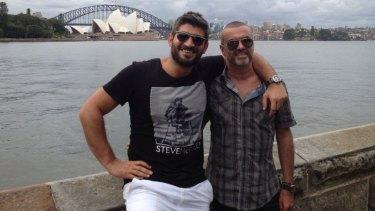 George Michael (R) with his then-boyfriend, Queensland-born Fadi Fawaz,  in Sydney in 2012.