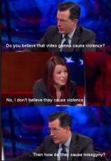 Anita Sarkeesian, in a cut from her appearance on <i>The Colbert Report</i>, on a meme. The segment didn't include the actual quote or exchange.