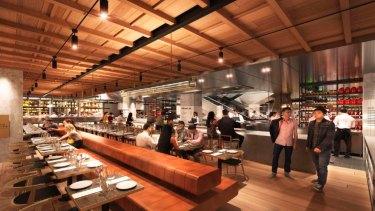 Landini Associates drawing of David Jones Bondi Junction Food Hall.
