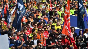Thosands of workers rally in Melbourne's CBD to show their support for sacked CUB workers.