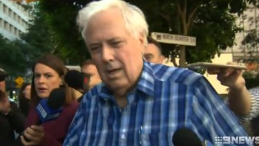 Clive Palmer outside the Federal Court in Brisbane on Tuesday.