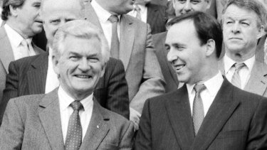 Prime Minister Bob Hawke (left) famously pledged to end child poverty.