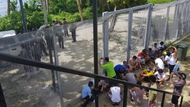 Refugees at the Manus Island regional processing centre protesting in a file picture.