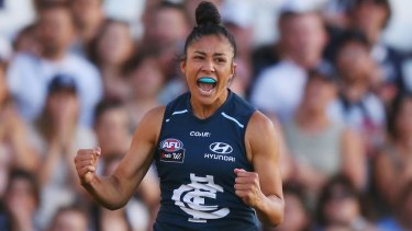 As Darcy Vescio played a blinder on Friday night, her Twitter account was under cyber attack.