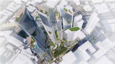 An aerial view of the proposed towers at 93-119 Kavanagh Street in Southbank.