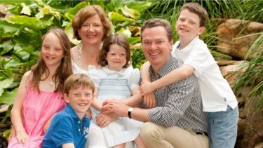 Carolyn and Christopher Pyne with their four children in 2012.