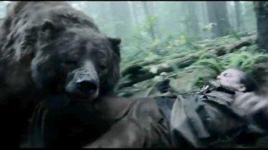 Still from The Revenant showing a bear attacking Hugh Glass (Leonaro di Caprio).