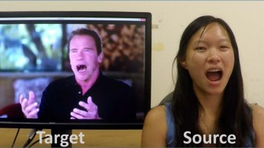 The 'Face2Face' facial recognition software translates facial expressions in real time.