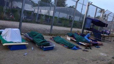 Rough sleeping conditions inside the Manus Island regional processing centre, which 600 refugees and asylum seekers refuse to leave.