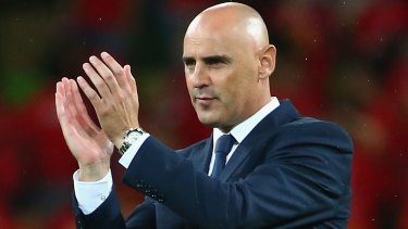 Master motivator: Melbourne Victory coach Kevin Muscat acknowledges the fans after an Asian Champions League win at AAMI Park.