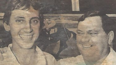 Terry with his father, Glen, in 1985.