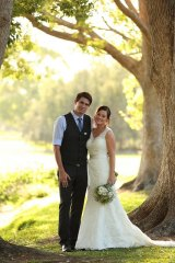 Newlywed Alice Ayling, pictured with husband Cameron on their wedding day.