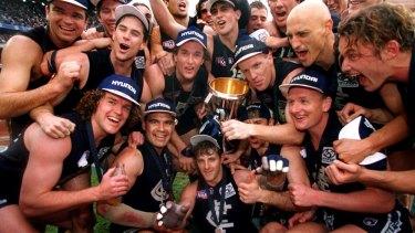 Carlton celebrate premiership success in 1995.
