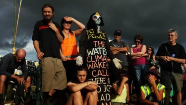 Blockades: protesters at the Bentley site.