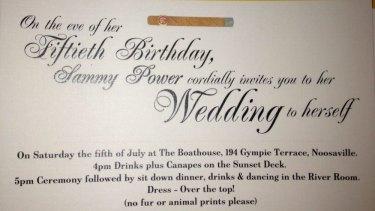 Sammy Power's wedding invitation.
