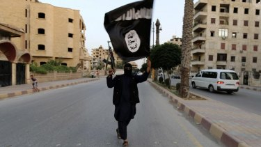 A member of the Islamic State in Iraq waves an ISIL flag.