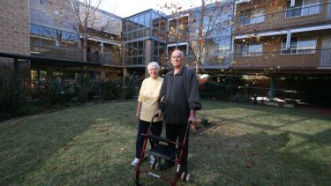"""I've got everything I need here"": Edith Rose and Don Orr at Presbyterian Aged Care, Haberfield."