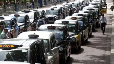 London taxi cabs parked in protest against Uber.