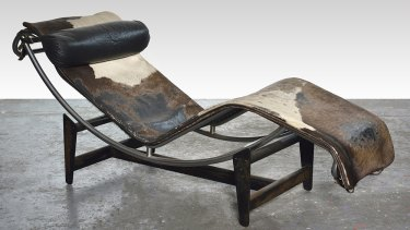 The Le Corbusier cowhide and chrome chaise longue.