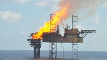 A wellhead platform on fire in the Montara oil field on  November 2, 2009.