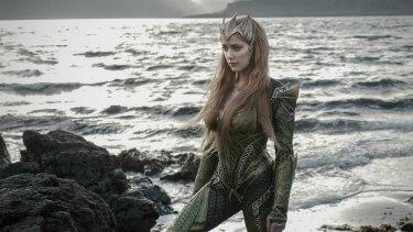 Amber Heard in costume for her new film, <i>Aquaman</i>.