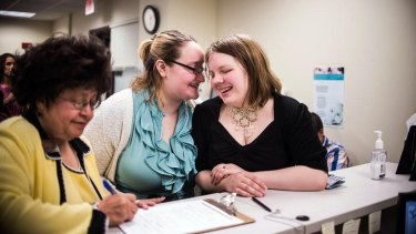 Lori Hazelton and Stephanie Ward are the first same-sex couple to receive their marriage license in Muskegon, Michigan.