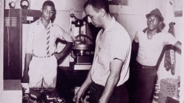 Well engineered: Owen Gray (left), Graeme Goodall (centre), Clement 'œCoxsone' Dodd (right) at Federal Studios, circa 1961.