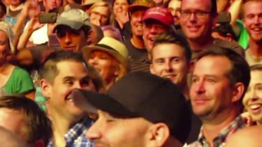 'Anthony the crying fan' (with red checked shirt) in the Foo Fighters audeince in Colorado this week.