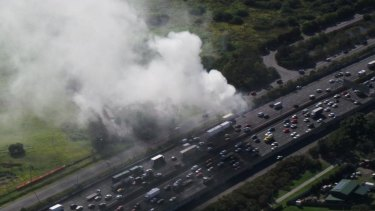 A truck caught alight on the M1 at Loganholme.