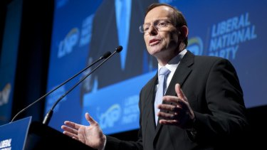 Prime Minister Tony Abbott speaks at the LNP state conference in Brisbane.